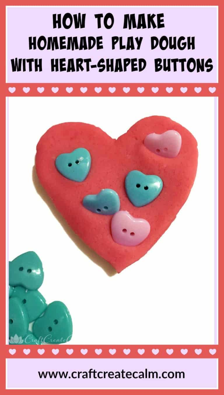 Homemade Play Dough with Heart Shaped Buttons