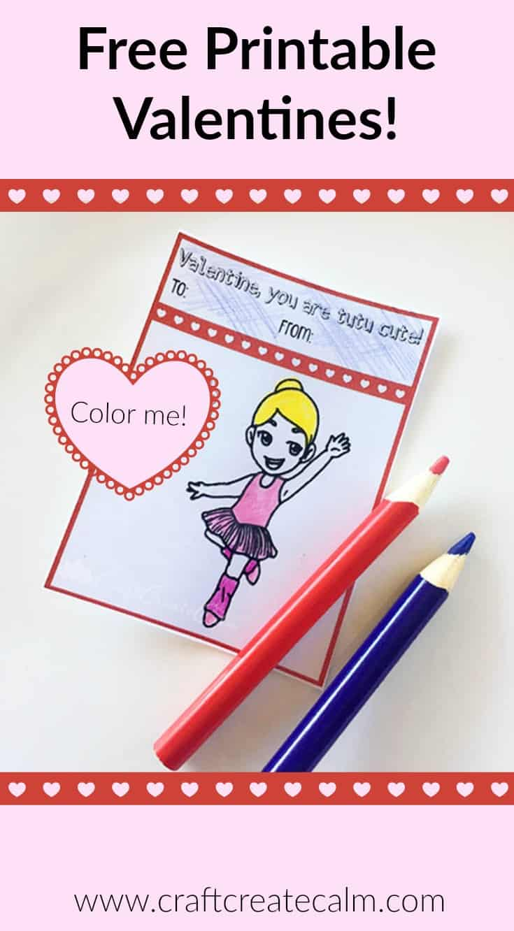 Free Printable Valentines for Kids -Color a Ballerina