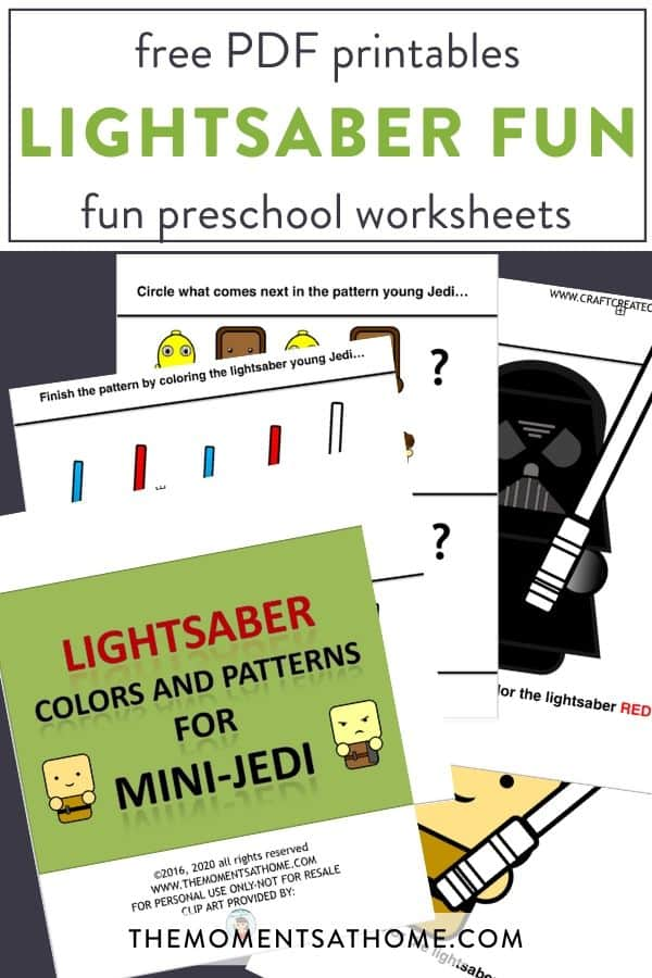 view of worksheets with ligthsaber Star Wars themed free printable worksheets from The Moments At Home