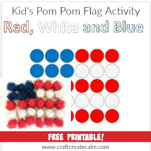Red, White and Blue preschool craft. Such a cute pom pom flag activity for kids!
