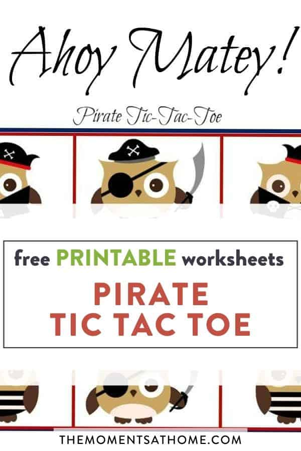 pirate tic toe game printable worksheet