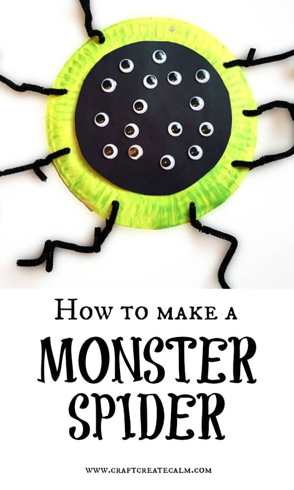 Monster spider craft for kids. Get creative with this paper plate craft for kids making a monster spider!