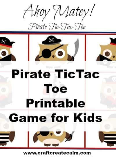 Pirate Printable Tic-Tac-Toe Game for Kids