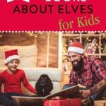 """family wearing Santa hats reading books and text """"10 Christmas books bout elves for kids"""" by The Moments At home"""