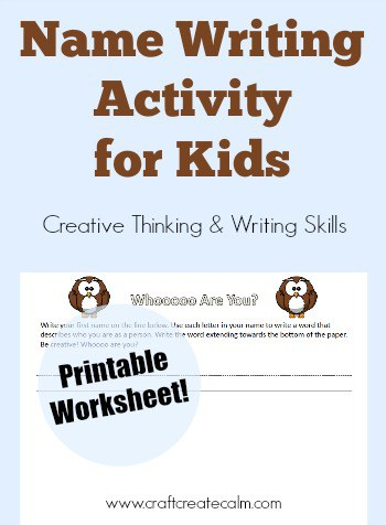 Name Writing Activity and Worksheet for Kids