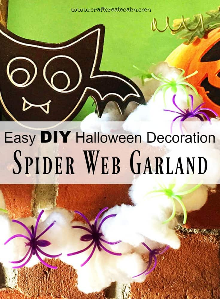 Fall spider craft for kids! Make a cute spider web garland as a DIY Halloween decoration!
