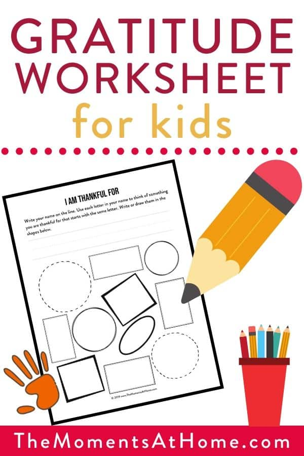 printable worksheet to be thankful for with crayons and pencils by The Moments At Home