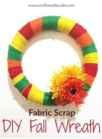Easy Autumn Wreath made from Fabric Scraps