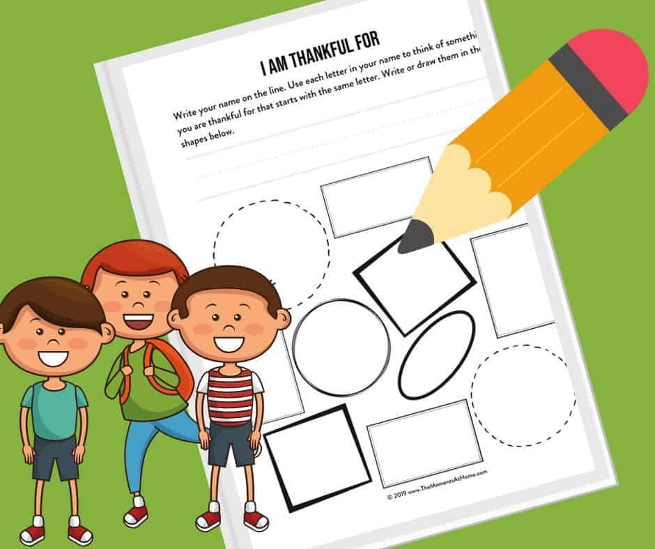 picture of free worksheet with cartoon kids and pencils