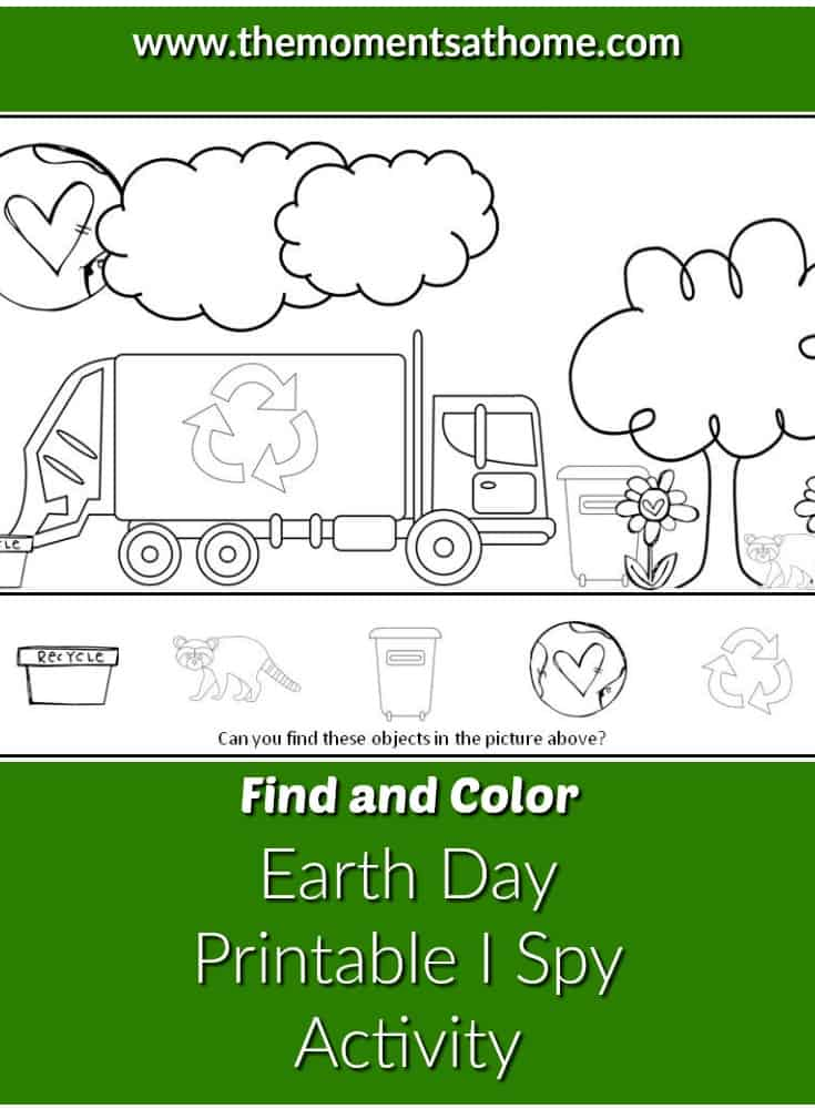 Earth day printable activity for kids. Find and color Earth Day themed objects in this free printable.