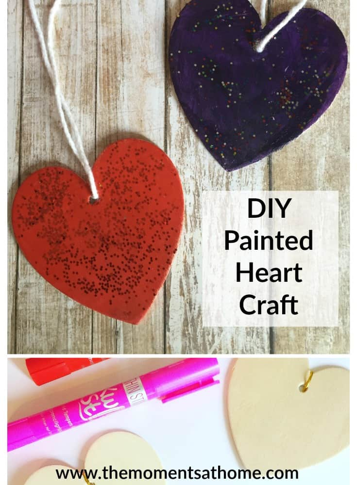 Decorate with a painted heart craft. These cute hearts sprinkled with glitter make a fun diy garland! Valentine's Day craft.