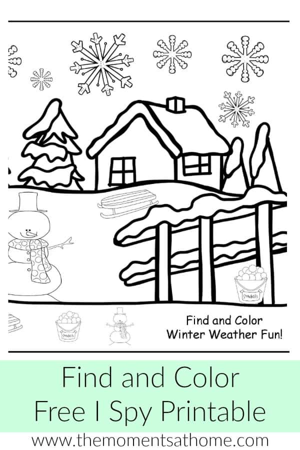 Winter weather activity for kids. Winter snow i spy, search and find free winter printable activity.
