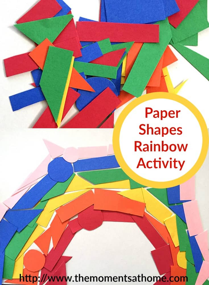 Construction paper rainbow activity for kids. Cut and fit shapes together in this fun rainbow art craft!
