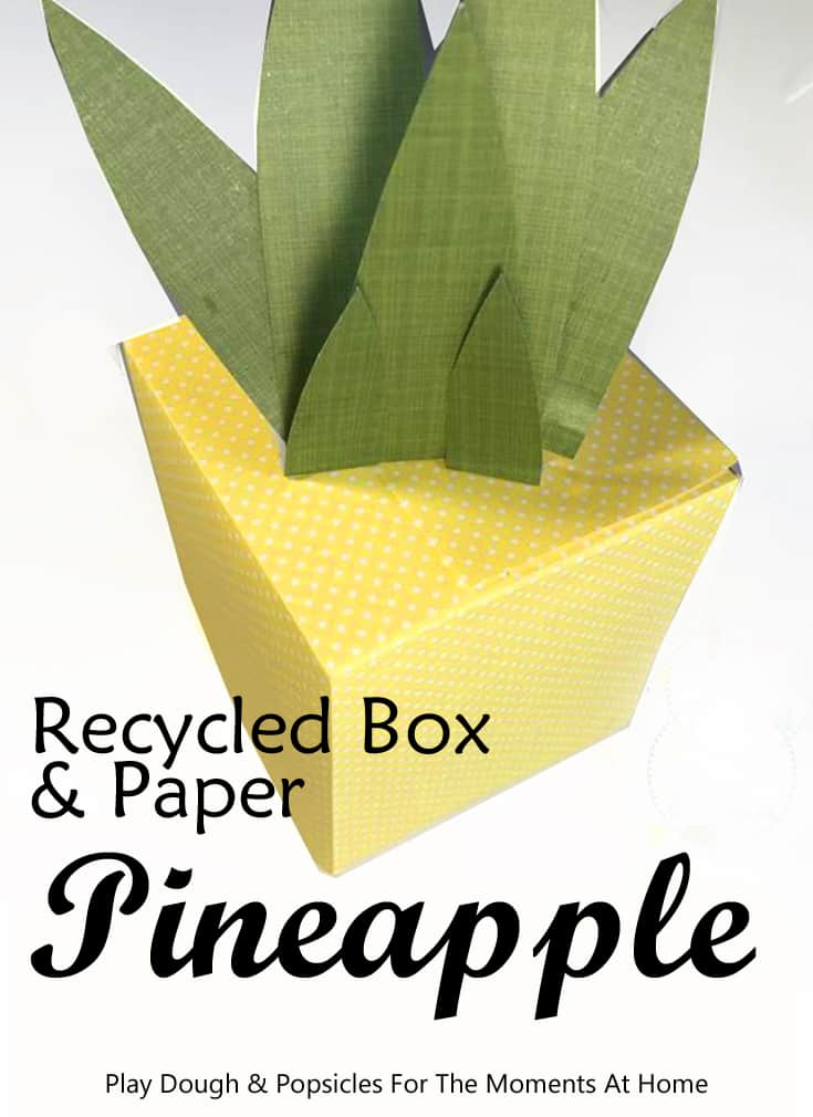 A tissue box turned pineapple centerpiece! Make this pretty pineapple craft for a summer party...