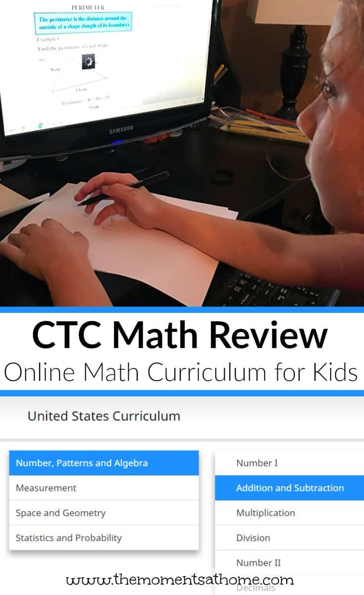 Online math curriculum for kids. CTC Math is a great option for homeschooling parents. Read my full review here!