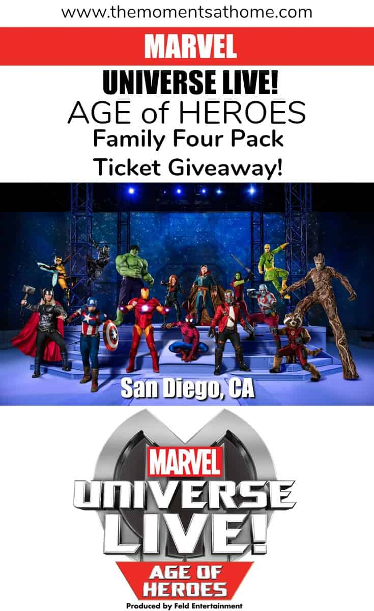 Enter to win a family four pack of tickets for MARVEL UNIVERSE LIVE! in San Diego, CA.