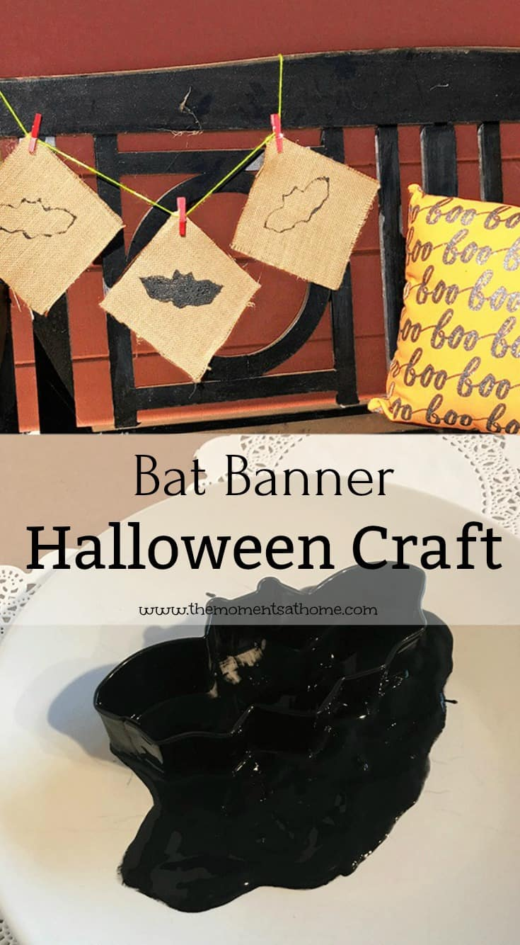 Make a bat craft for Halloween. This easy fall banner diy project can be done is less than 15 minutes!