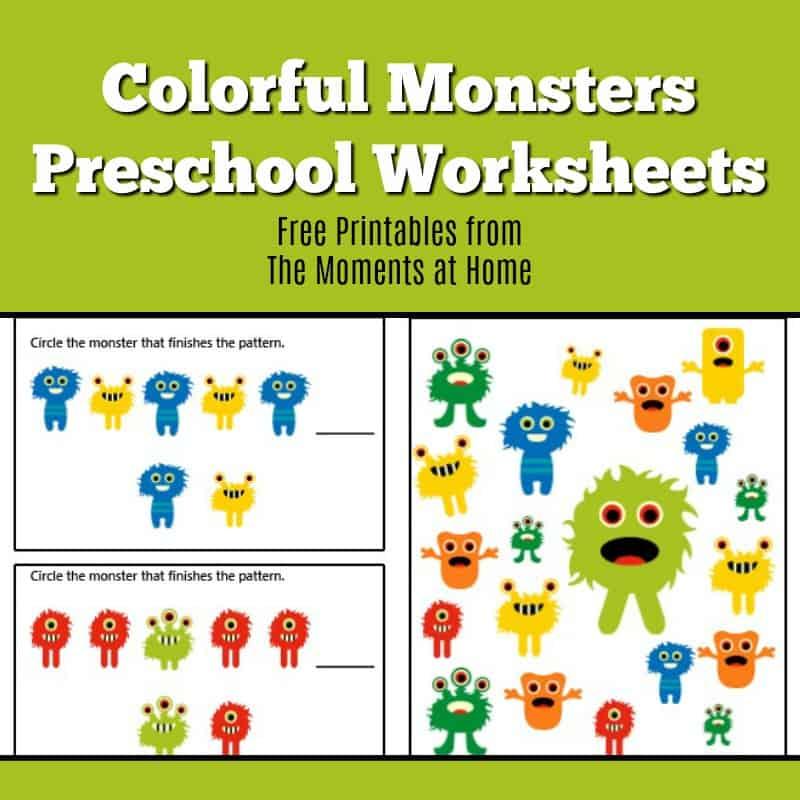 Monster Colors Printable Worksheets For Preschoolers The