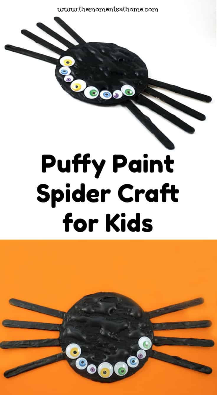 Puffy paint spider craft for preschoolers. Fall craft for kids. #preschoolcrafts #halloweencrafts