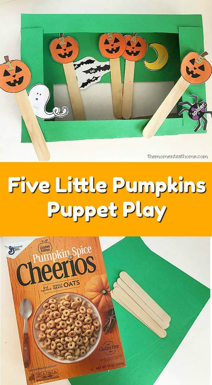 Five Little Pumpkins puppet play for kids. Preschool puppets to go with the story of the Five Little Pumpkins. Free pumpkin printable. #freeprintable #preschoolhalloween #preschoolprintable