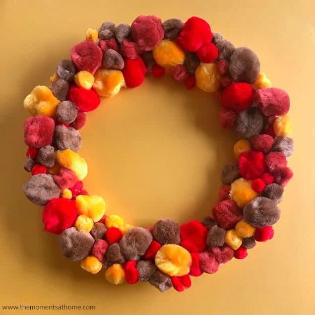 Thanksgiving Paper Plate Craft Pom-Pom Wreath