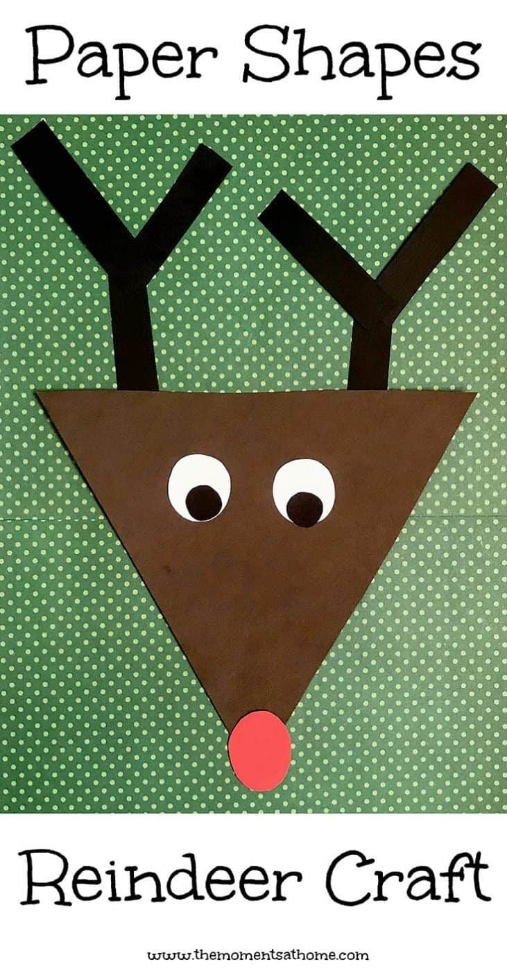 Teaching kids about shapes is fun with this paper shapes craft for kids. Based on the book Rudolph the Red Nosed Reindeer and part of our weekly virtual book club for kids.