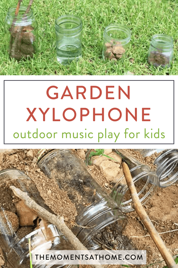 "DIY garden xylophone mason jar music activity for kids with sticks playing them and text overlay ""garden xylophone: outdoor music play for kids"""