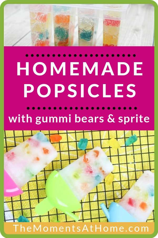 homemade popsicles with soda and gummi bears in plastic molds