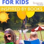 kids reading in summer with text overlay: summer fun for kids inspired by books, The Moments At Home