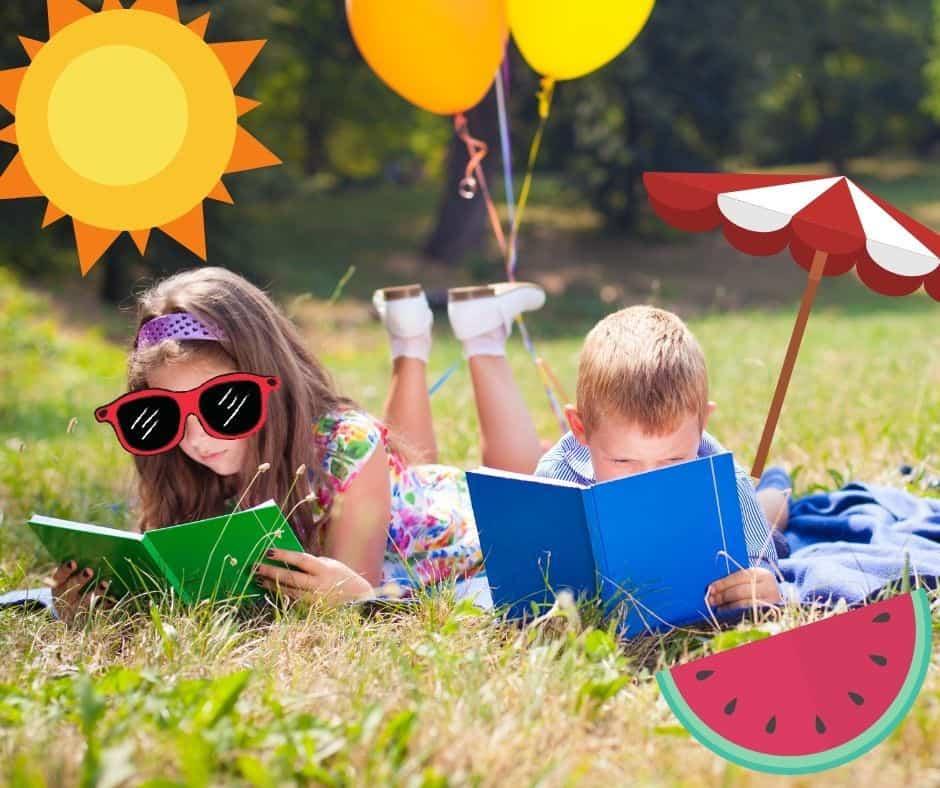 kids reading books in summer