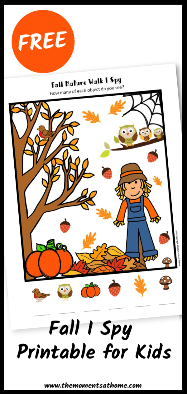 Fall I Spy Printable for kids. #freeprintable #kids
