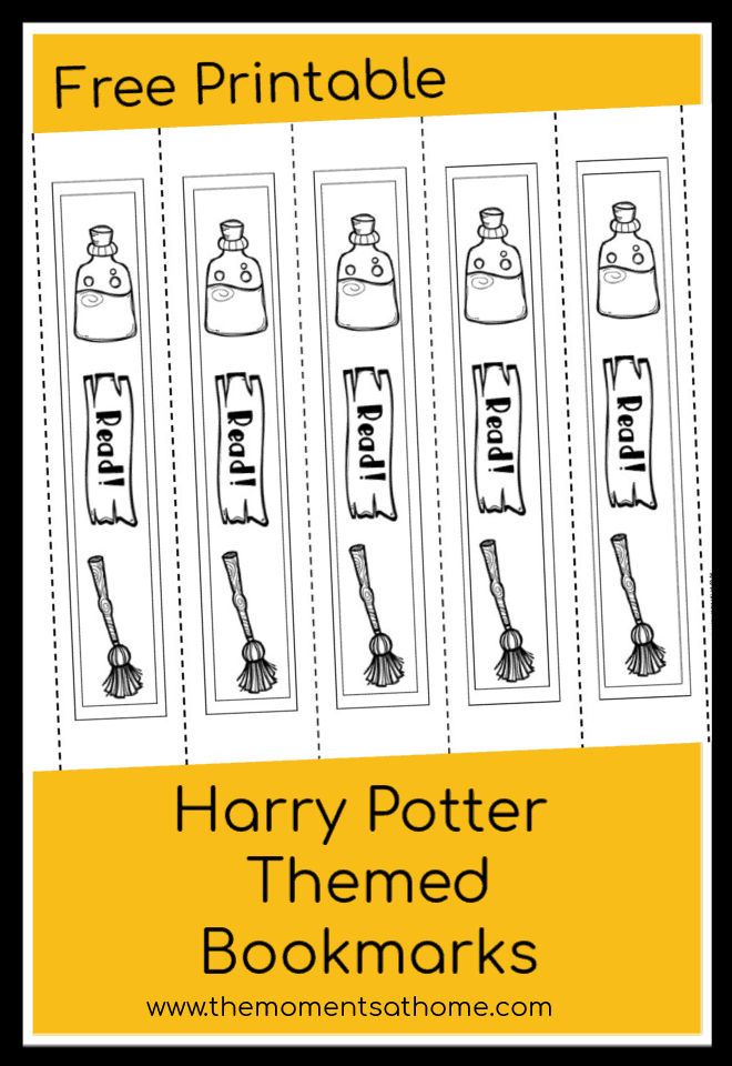 Harry Potter printable bookmarksinspired by the popular books! Color these wizardly bookmarks and mark you spot in your favorite Harry Potter book. #harrypotter
