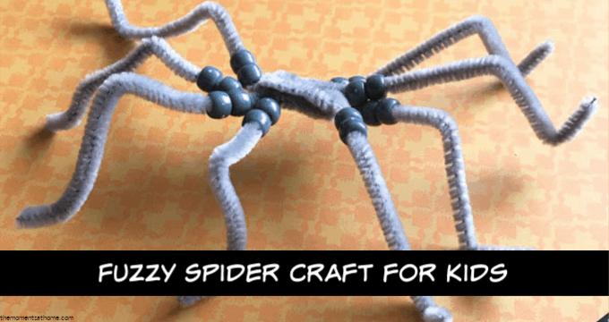 Fuzzy spider craft for kids.