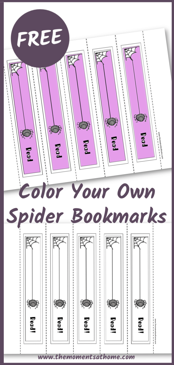 Free printable for kids. Spider web bookmarks that you can color! #kidscrafts #printable