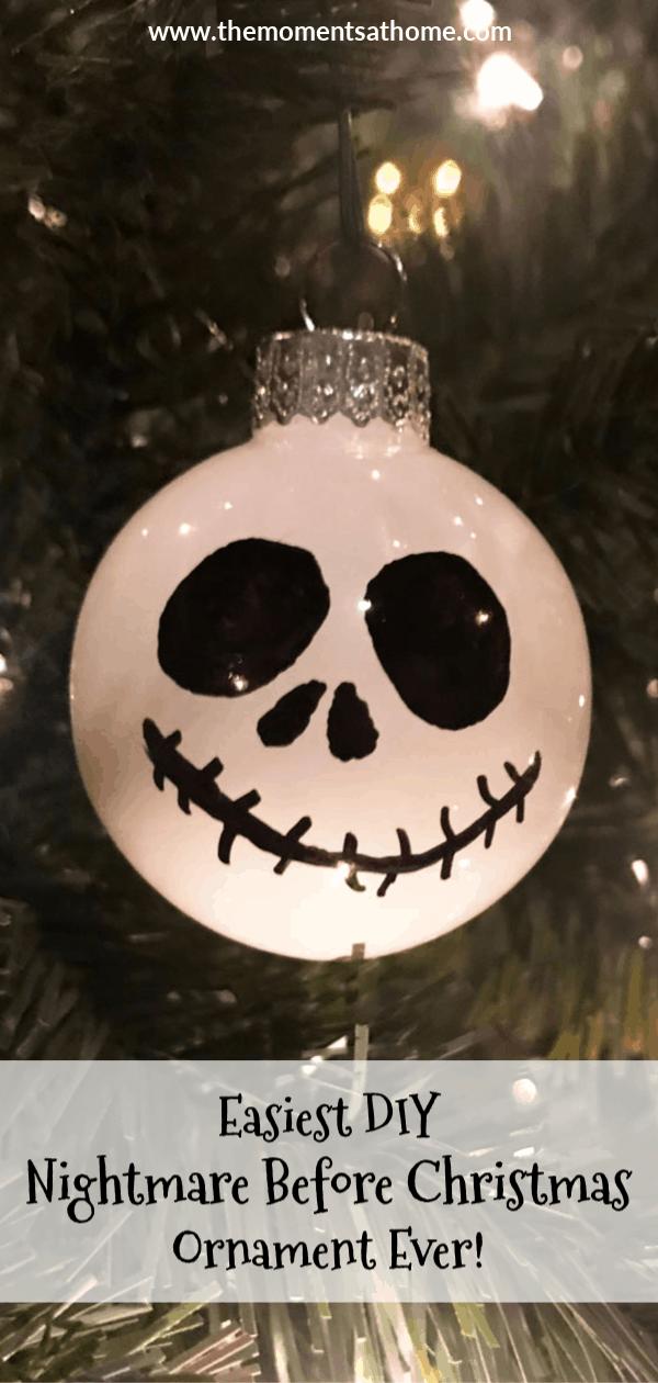 Easiest Nightmare Before Christmas ornament ever! DIY Jack Skellington Ornament. #diyornament #nightmarebeforechristmas