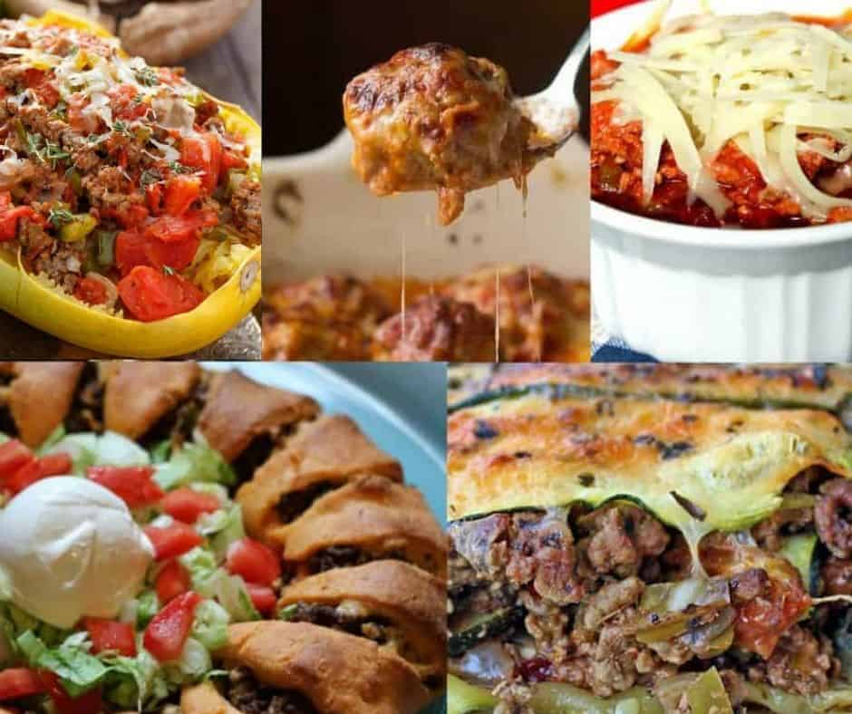 collage of low carb ground beef dinners