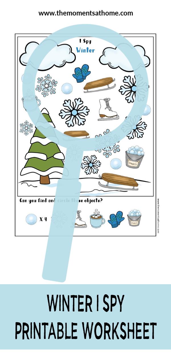 Winter I Spy printable worksheet for kids. #printableworksheets #kindergarten