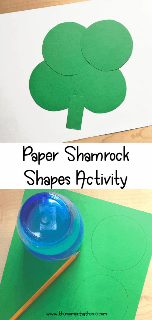 Paper shamrock craft for kids. Shapes activity for kids. #craftsforkids #shamrock