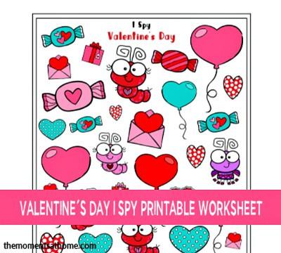 Valentine's Day I Spy printable worksheet.