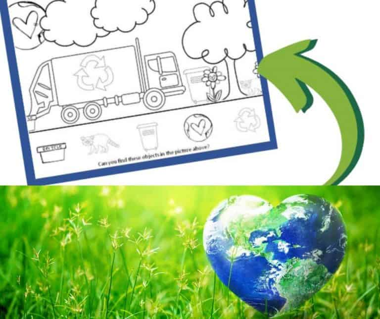 Earth Day Printable I Spy & Color Activity Worksheet
