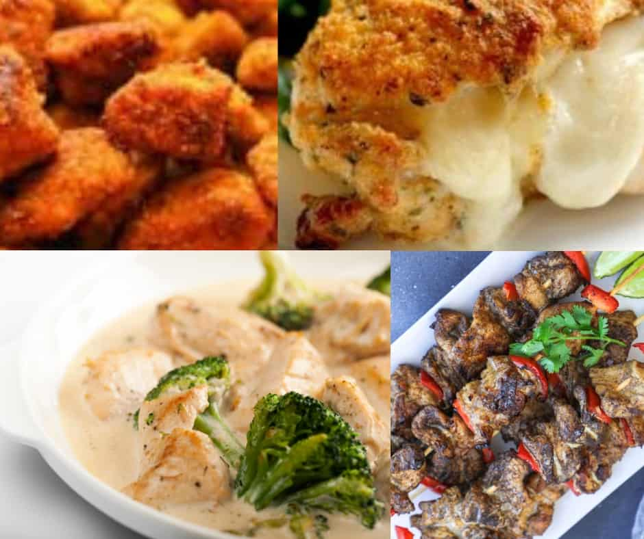 collage of low carb THM chicken dinners