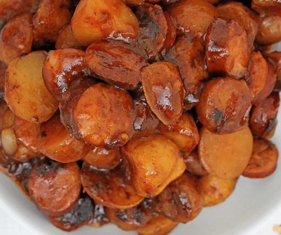 close up photo of bbq smoked sausage and veggies