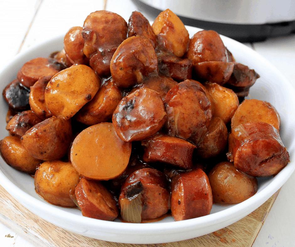 bowl of smoked sausage and potatoes