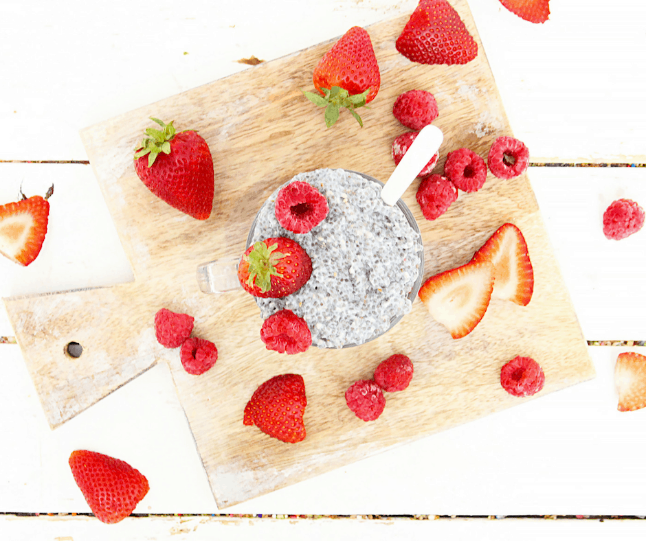 berry chia pudding with coconut milk