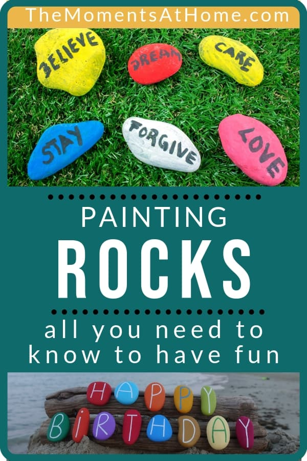"""""""How To Paint Rocks With Kids"""" text with examples of painted rocks"""