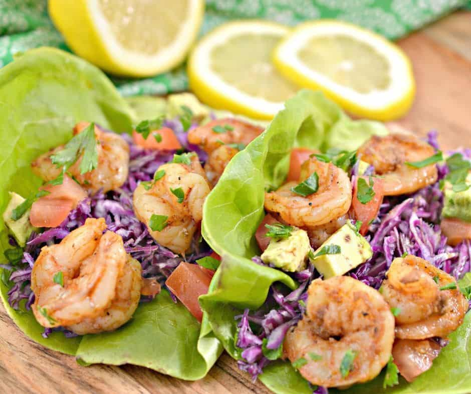 shrimp tacos with cabbage slaw in keto lettuce boats