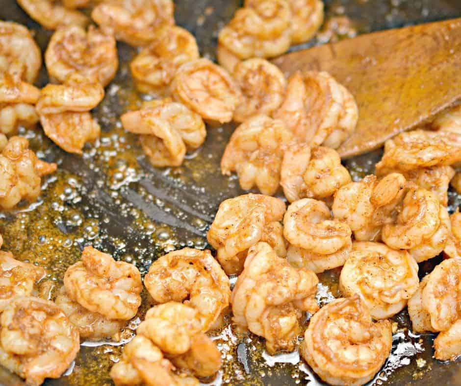 cooking shrimp for tacos in cast iron skillet