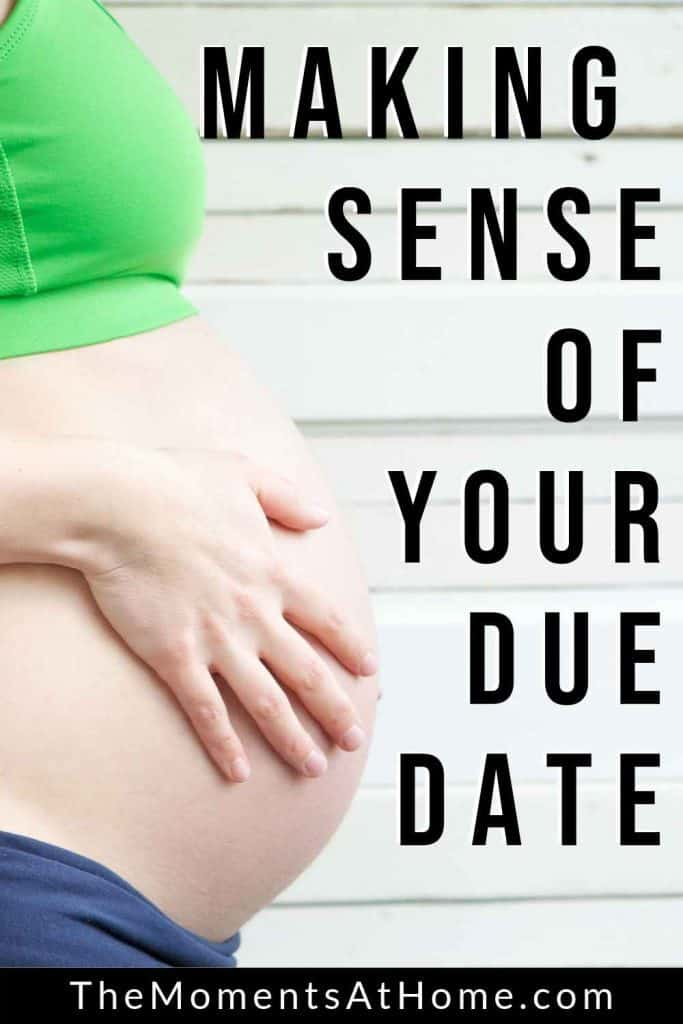large pregnancy belly with words making sense of your due date by The Moments At Home