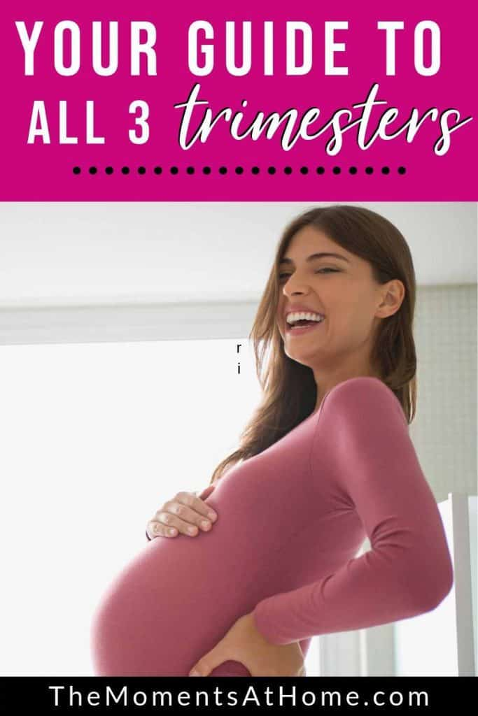 """happy pregnant woman laughing with words """"understanding what is going on and what to do in third trimester pregnancy"""" by The Moments At Home"""