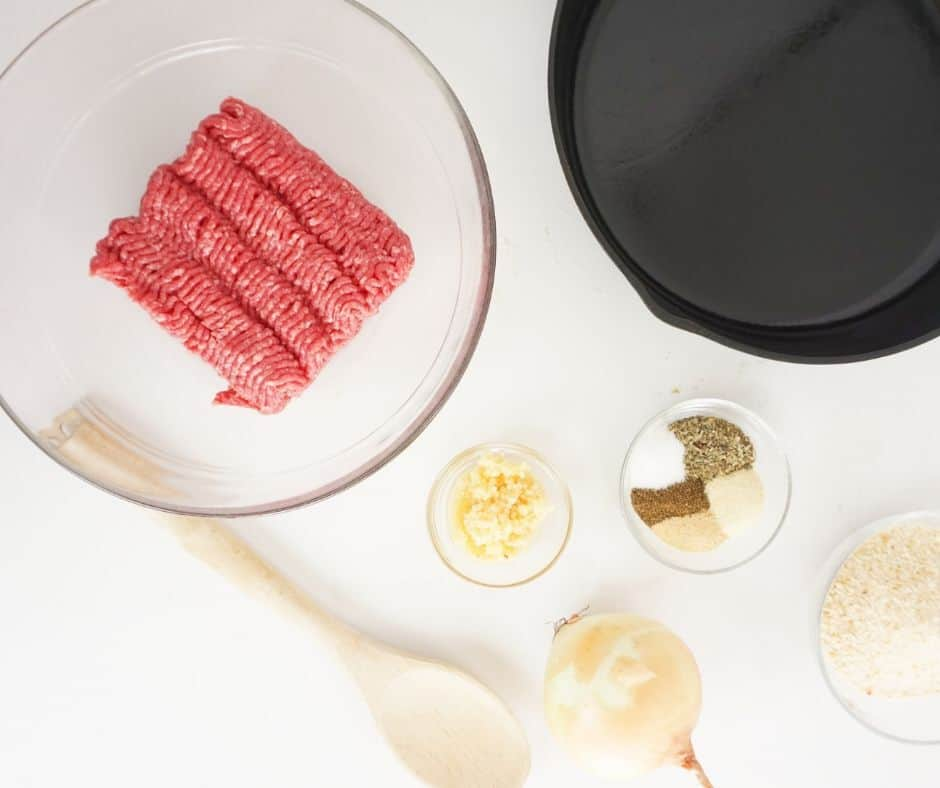 ingredients for meatballs on counter